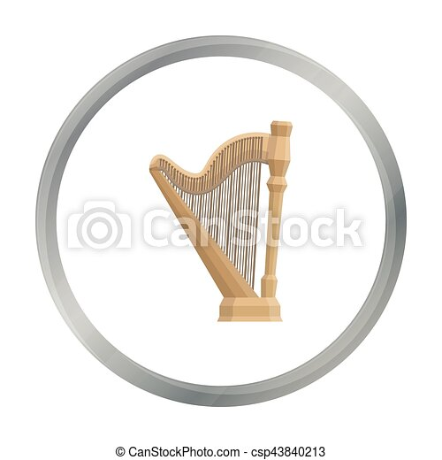 Harp Icon In Cartoon Style Isolated On White Background Musical