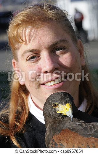 Harris Hawk and handler - csp0957854