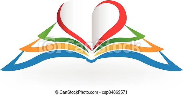 hart gedaante, boek, liefde, logo - csp34863571