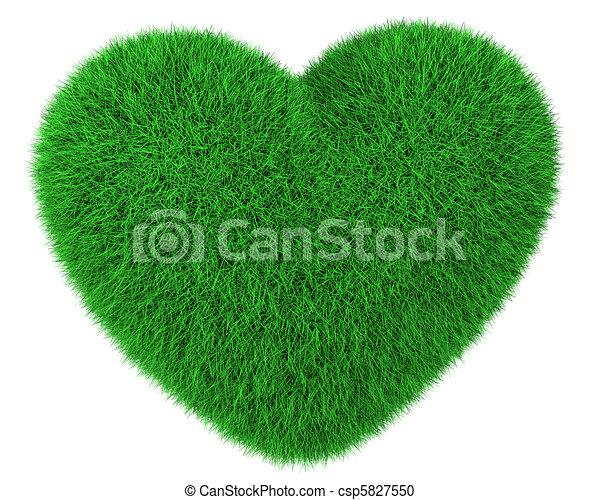 hart, gemaakt, groene, vrijstaand, gras - csp5827550
