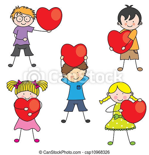 hart, groep, kinderen - csp10968326