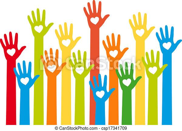 hart, handen, kleurrijke, vector - csp17341709