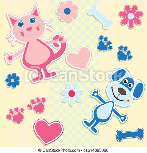 hart, honden, seamless, achtergrond, poezen - csp14895060