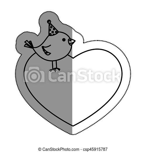 hart, houd van vogel, schattig - csp45915787
