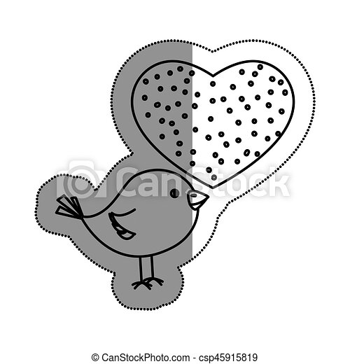 hart, houd van vogel, schattig - csp45915819