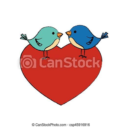 hart, houd van vogel, schattig - csp45916916