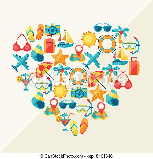 hart, iconen, reizen, vorm., achtergrond, toerisme - csp18461646
