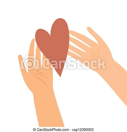 hart, illustratie, handen - csp12390003