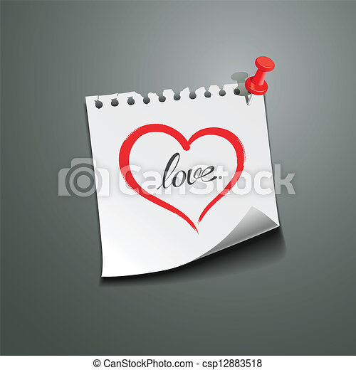 hart, liefde opmerking, papier, boodschap, rood - csp12883518
