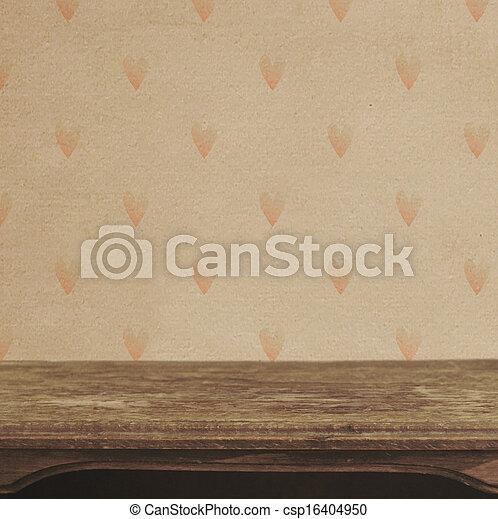 hart, muur, ouderwetse , achtergrondmodel, tafel - csp16404950