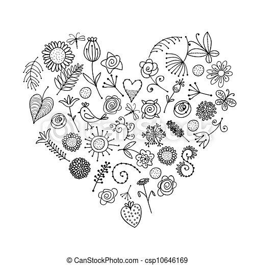hart, ornament, vorm, ontwerp, floral, jouw - csp10646169
