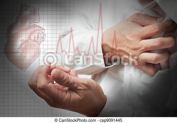 hart, ritmes, aanval, achtergrond, cardiogram - csp9091445