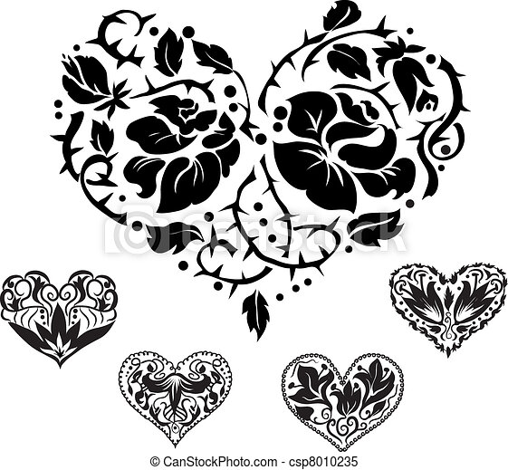 hart, silhouettes, 5, sierlijk - csp8010235