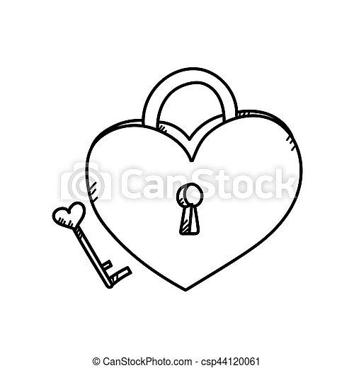 hart, slot, tekening, illustratie, freehand.