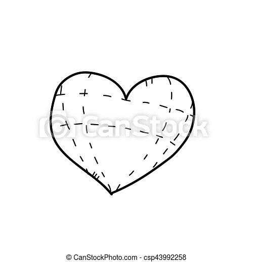 hart, tekening, illustratie, freehand.