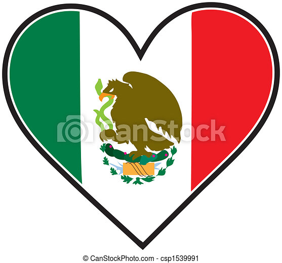 hart, vlag, mexico. hart, vlag, mexicaanse , zoals, gevormd.