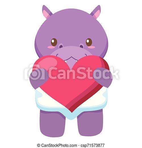 hart, weinig; niet zo(veel), liefde, nijlpaard, schattig, baby - csp71573877