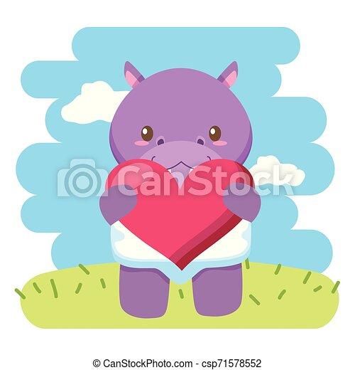 hart, weinig; niet zo(veel), liefde, nijlpaard, schattig, baby - csp71578552