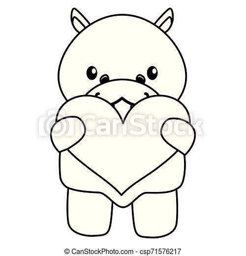 hart, weinig; niet zo(veel), liefde, nijlpaard, schattig, baby - csp71576217
