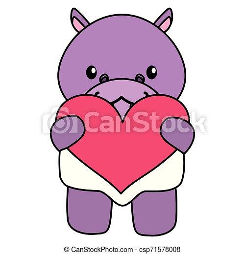 hart, weinig; niet zo(veel), liefde, nijlpaard, schattig, baby - csp71578008
