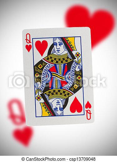 hartjes, koningin, speelkaart - csp13709048