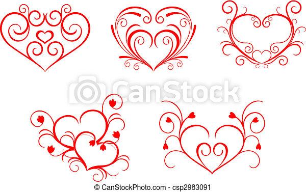 Hartjes Valentijn Stijl Valentijn Ontwerp Floral Hartjes Rood