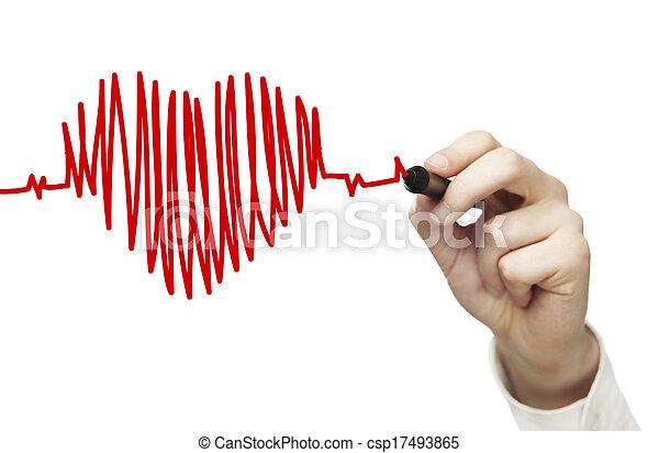 hartslag, tekening, tabel - csp17493865