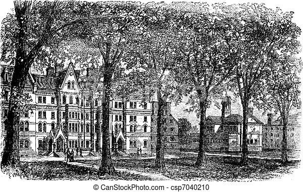 Harvard University, Cambridge, Massachussets vintage engraving - csp7040210
