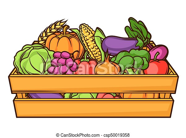 Harvest illustration of box with seasonal fruits and ...