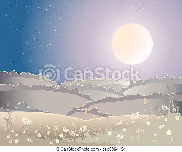 harvest moon landscape - csp6894134