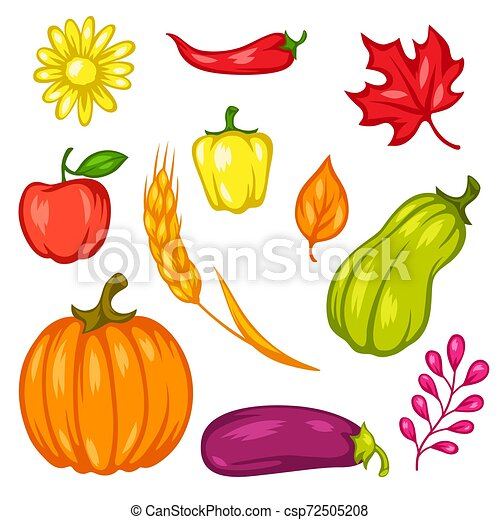 Harvest Set Of Fruits And Vegetables Autumn Seasonal Illustration Canstock