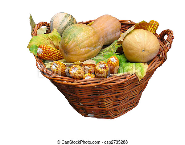 Harvest vegetables in a wooden box isolater over white - csp2735288