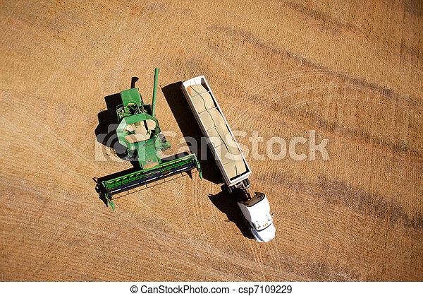 Harvester and Semi-Truck - csp7109229