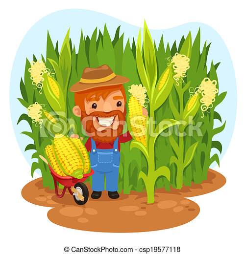 harvesting farmer in a cornfield in the eps file each element is rh canstockphoto com free clipart corn field Lake Clip Art