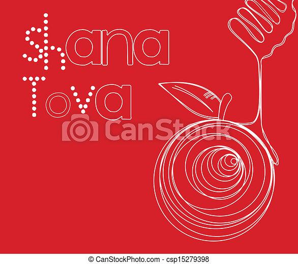 hashanah, rosh, cartão - csp15279398