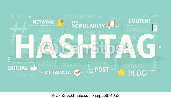 Hashtag concept illustration. - csp55814052