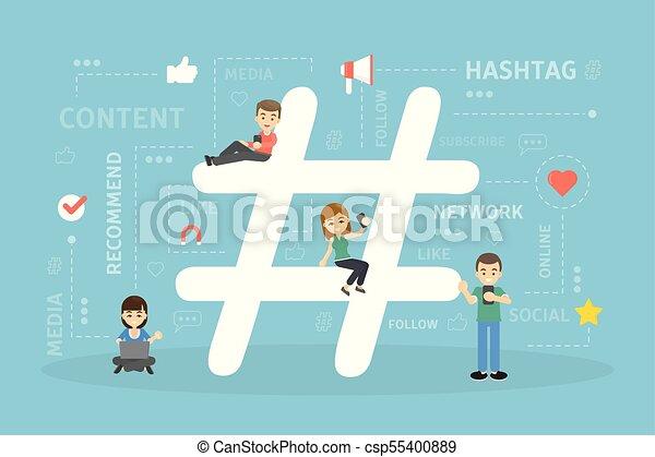 Hashtag concept illustration. - csp55400889