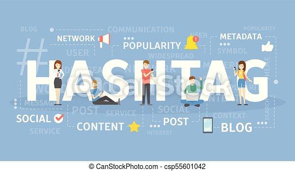 Hashtag concept illustration. - csp55601042