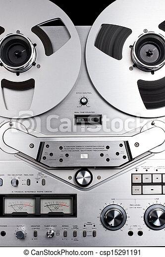 haspel, registreerapparaat, audio, cassette, analoog - csp15291191