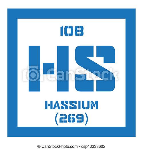 Hassium chemical element radioactive synthetic element colored hassium chemical element radioactive synthetic element colored icon with atomic number and atomic weight chemical element of periodic table urtaz Choice Image