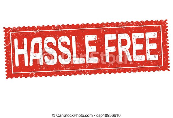 hassle free sign or stamp hassle free sign or stamp on vector rh canstockphoto com