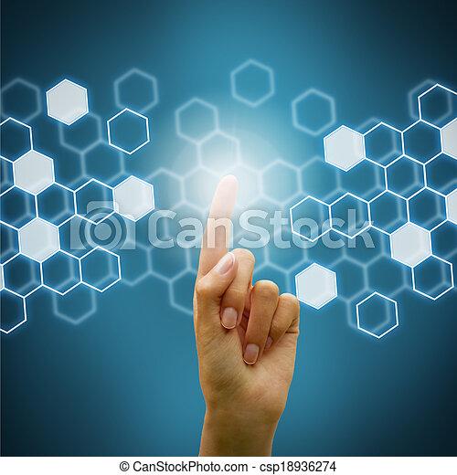 használ, ellenző, nő, kéz, digitális - csp18936274