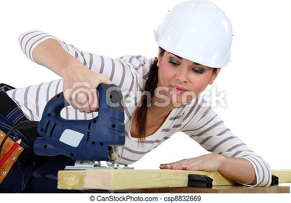 használ, női, ács, jigsaw. - csp8832669
