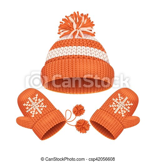 745035244eb00 Hat and mitten set winter accessories. vector. Red hat with a pompom ...