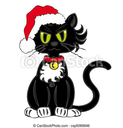 hat., claus, noir, santa, chat - csp5069946