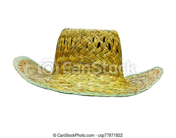 hat straw isolated on white front view - csp77871822