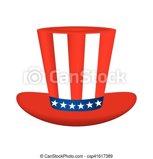 Hat with American flag image on white background - csp41617389