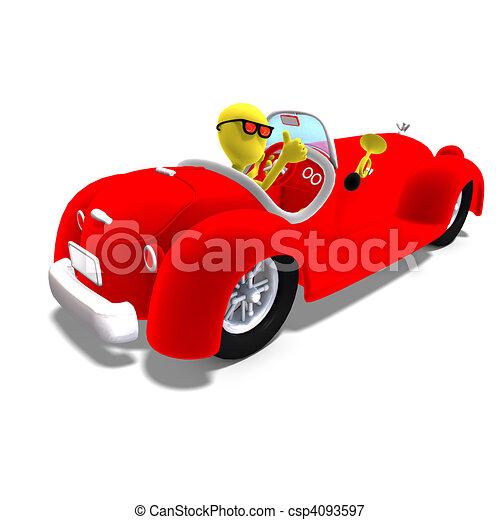 hatalmas, darabka, vezetés, toon, felett, betű, vakolás, autó., út, árnyék, hím, fehér, ikon, 3 - csp4093597