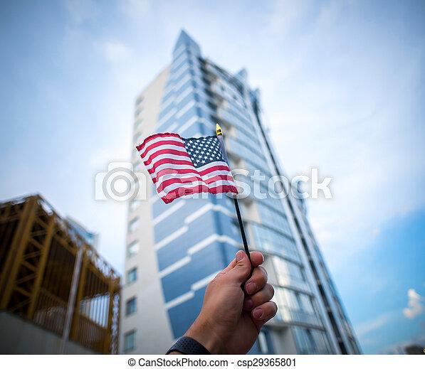 hatalom kezezés, american lobogó - csp29365801
