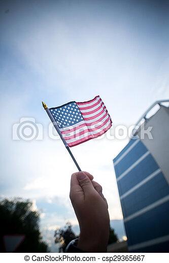 hatalom kezezés, american lobogó - csp29365667